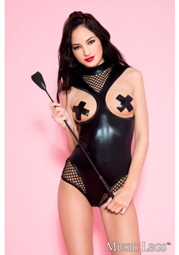 Open Bust Metallic Wetlook and Fishnet Bodysuit