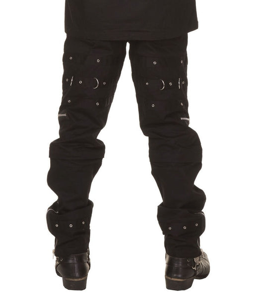 Black Pants with Buckle and Chain Details With Zip Off Bottoms