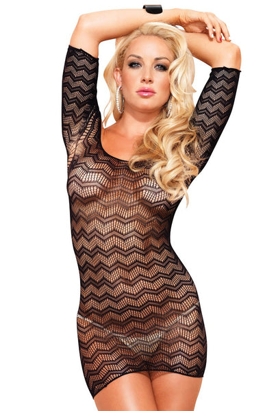Zig Zag Crochet Net Mini Dress