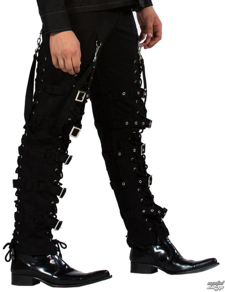 Black Bondage Lace Up Pants with Buckle Leg Straps