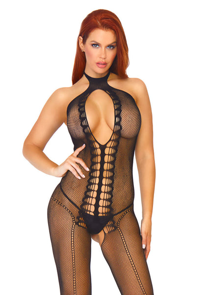 Fishnet Keyhole Halter Bodystocking with Scale Net