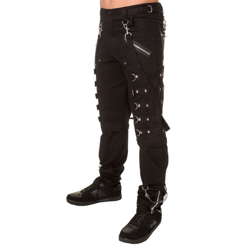 Black Pants with Stud Details and Zip Off Bottoms