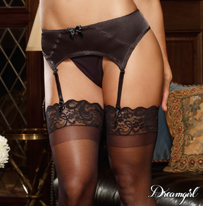 Plus Size Satin and Mesh Garter Belt