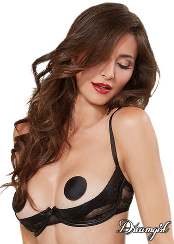Wetlook and Lace Open Cup Bra