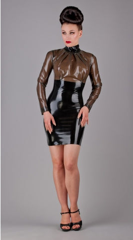 Latex High Collar and Pleated Neckline Dress