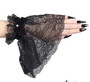 Long Lace Wrist Cuffs with Velvet Bow