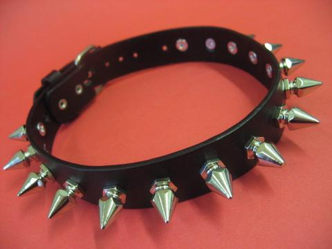 Leather Collar with Tall German Spikes