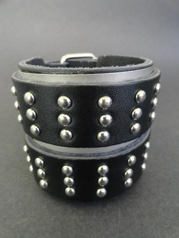 Stainless Steel & Leather Wrist Cuff