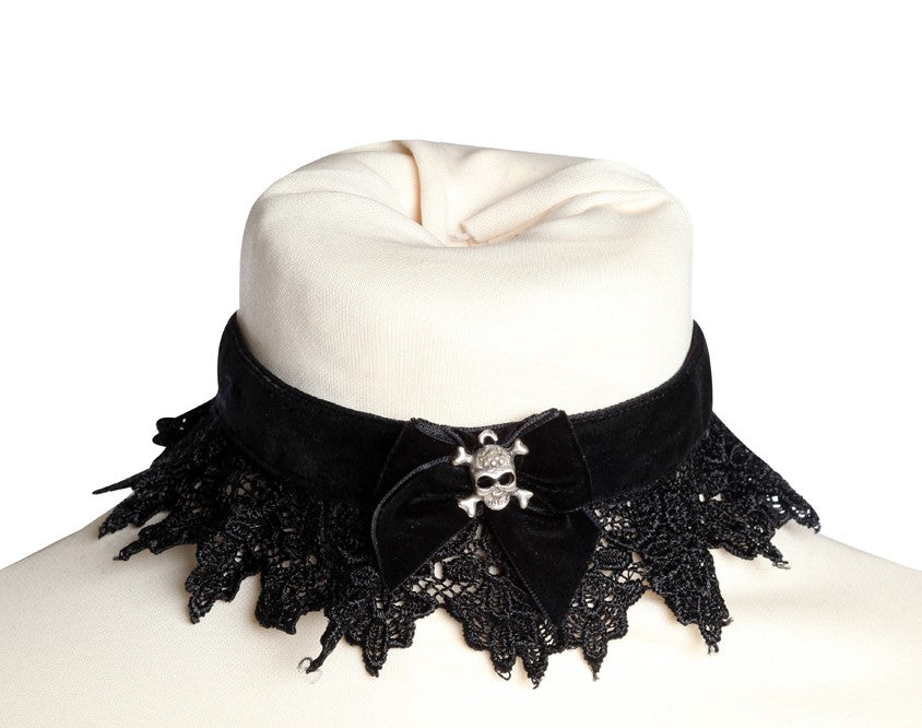 Velvet and Lace Choker with Skull Charm