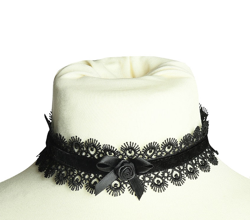 Scalloped Lace and Satin Rose Choker