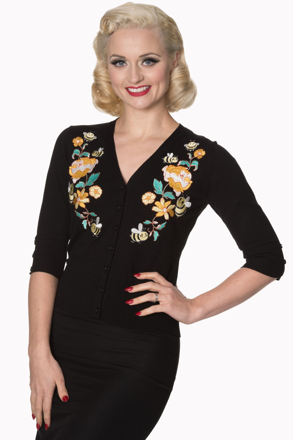 Bees Cropped Cardigan