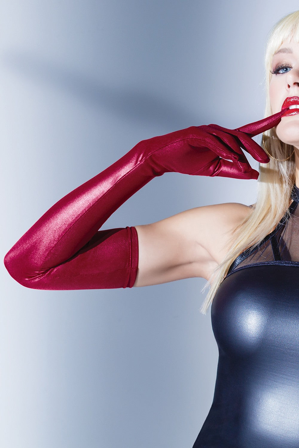 Merlot Metallic Wetlook Opera Gloves