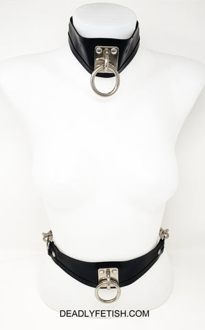 Deadly Fetish Instock Latex: Convertible Belt/Collar With Tie Plate