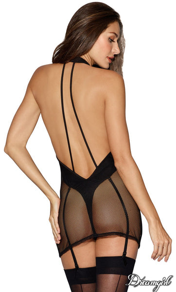 Fishnet Chemise with Opaque Underlayer