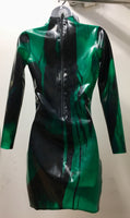 Marbled Latex Long Sleeved Mini Dress