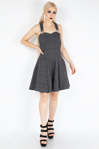 Grey Tartan Overall Dress