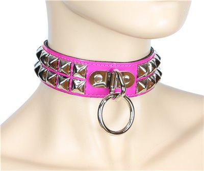 Pyramid Studded Leather Collar