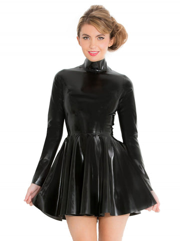 High Neck Skater Latex Dress