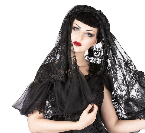 Black French Lace Gothic Veil
