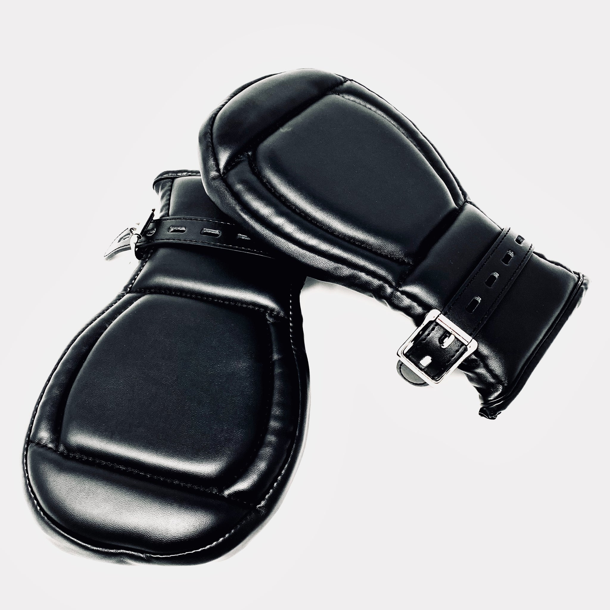 Padded Black Vegan Leather Bondage Mittens