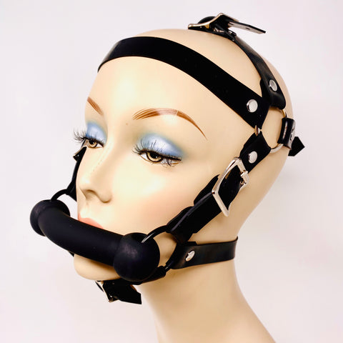 Latex Nemesis Snap On Head Harness w/ Silicone Bit Gag