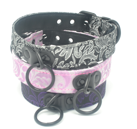 Brocade and Leather Black Hardware Collar