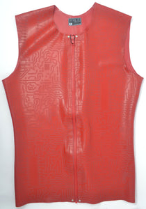 Latex Embossed Sleeveless Vest w/ Front Zip
