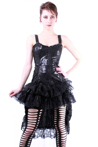 PVC and Lace Overlay Hi-Low Dress