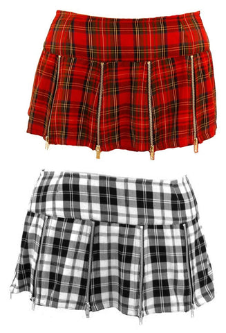 Tartan Multi Zip Mini Skirt