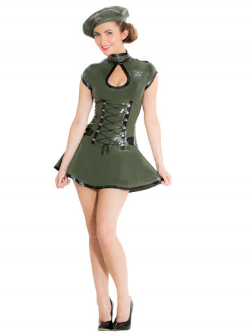 Latex Army Dress & Beret