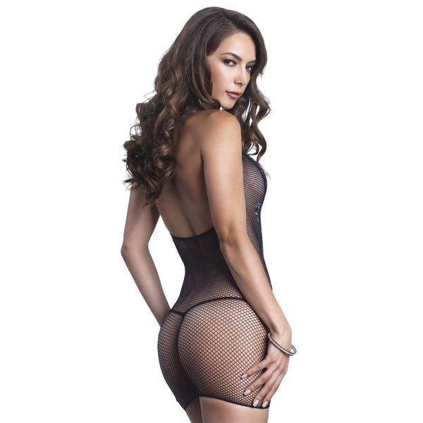 Fishnet Halter Mini Dress with Eyelash Lace