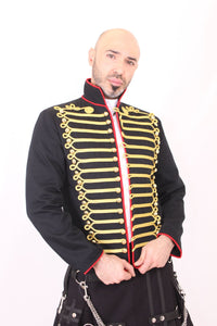 Men's Military Jacket with Gold and Red Accents