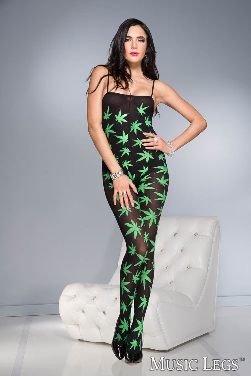 Leaf Print Bodystocking
