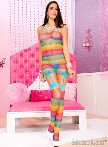 Rainbow Fishnet Dress with Bows and Attached Stockings