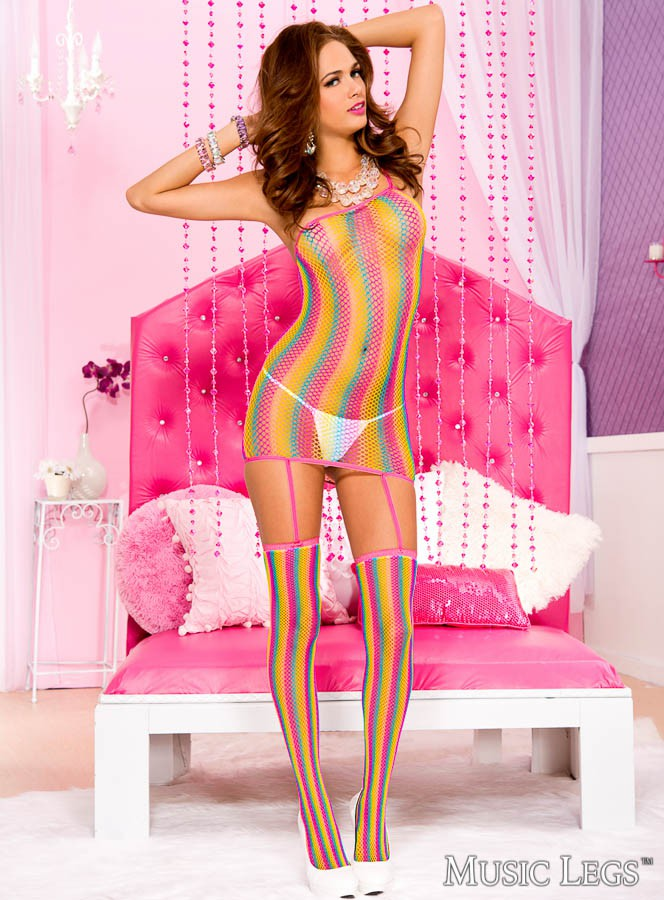 Rainbow Fishnet One Shoulder Dress