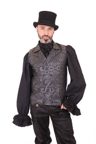 Silver & Black Floral Print Waistcoat