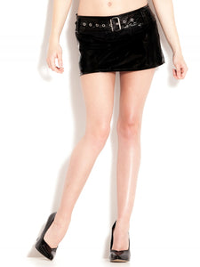Belted PVC Mini Skirt