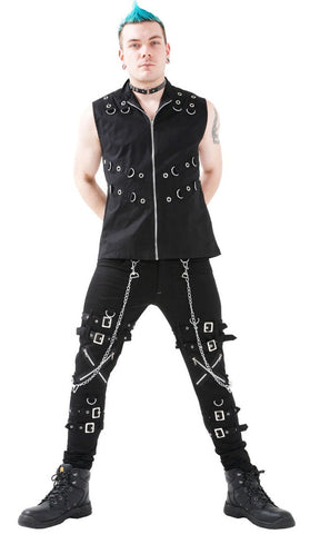 Black Cotton Vest w/ Silver Hardware