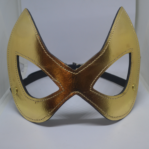 Gold Leather Cat Mask