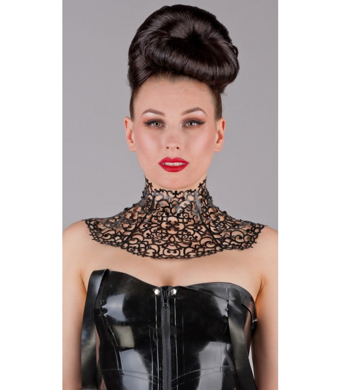 Latex Lace Cut Neck Corset