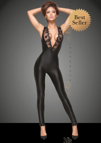 Sleeveless Matte Wetlook V-Neck Catsuit