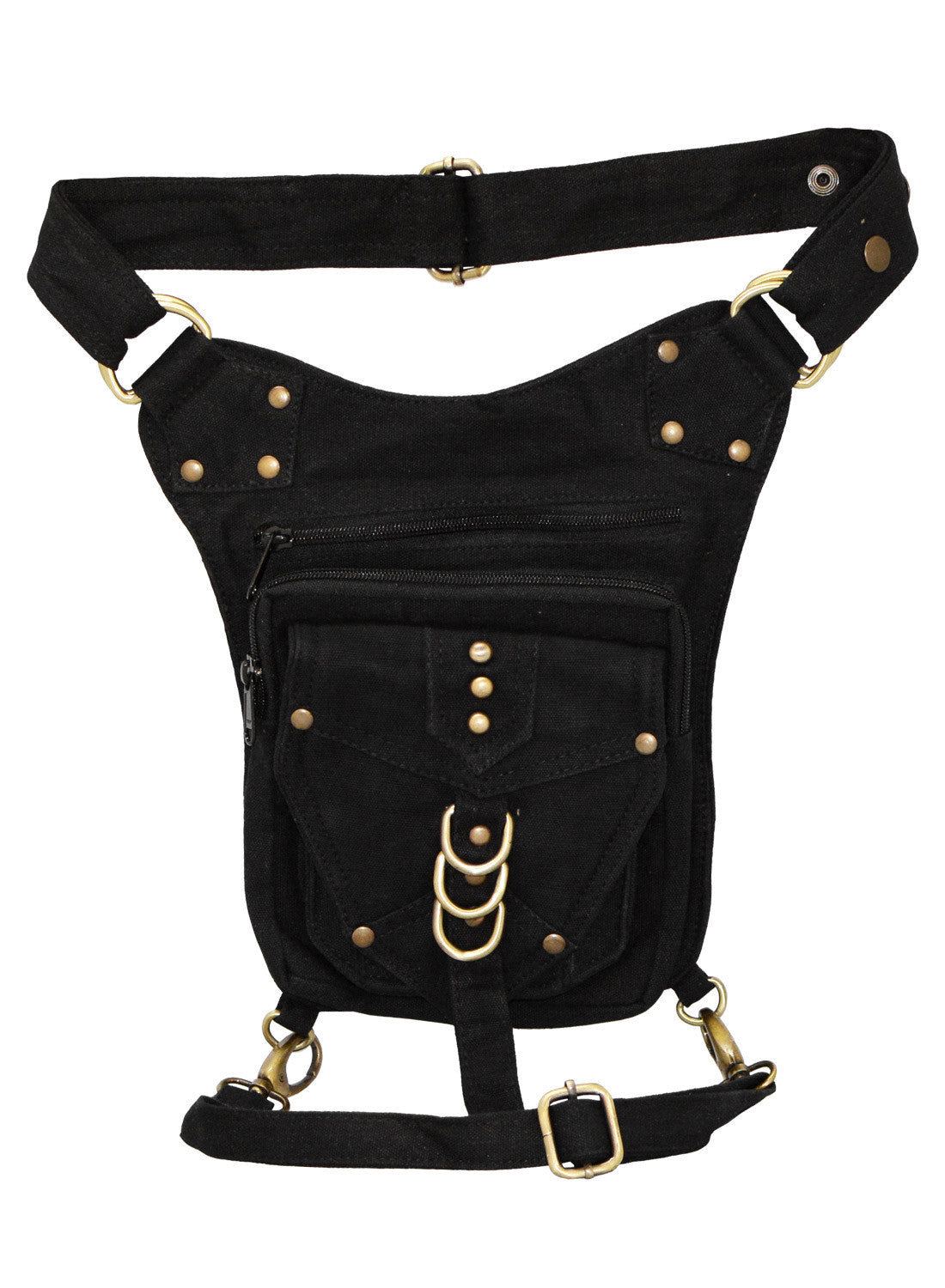 Black Steampunk Cotton Hip Bag