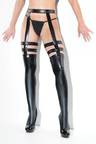 Metallic Wetlook Stockings with Attached Garter