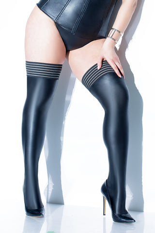 Matte Wetlook Stockings with Striped Elastic in Plus Size