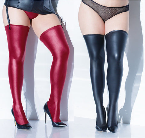 Wetlook Stay Up Stockings in Plus Size