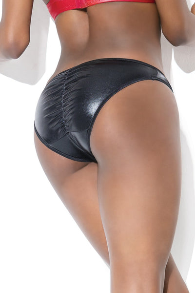 Metallic Wetlook Ruched Back Crotchless Thong