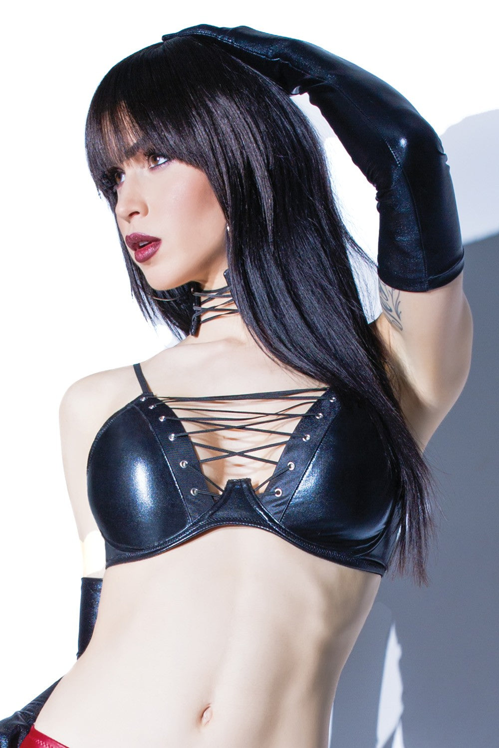 Metallic Wetlook Criss-Cross Bra