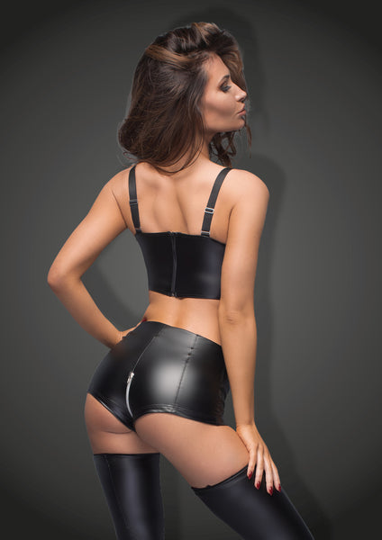 Matte Wetlook High Waist Zipper Shorts