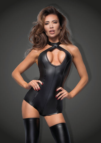 Matte Wetlook Halter Neck Bodysuit