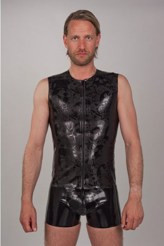 Textured Sleeveless Latex Vest with Skull and Roses